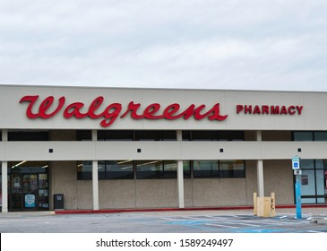 Humble, Texas/USA 11/28/2019: A Walgreens Pharmacy outlet store in Humble, TX. Founded in 1901 Chicago Illinois it is the second largest US pharmacy store and can be found in all 50 states in the USA.