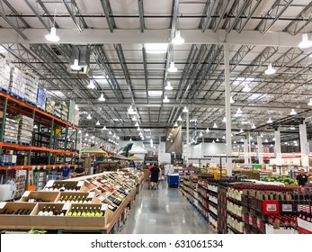 HUMBLE, TEXAS,US-APR 15, 2017:Aisle of bottles in wine section of Costco store. This largest wholesale membership-only warehouse club in United States known for its low-price offers. Customer shopping
