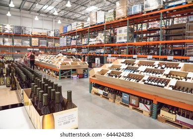 HUMBLE, TEXAS,US-MAY 21, 2017:Aisle of bottles in wine section of Costco store. This largest wholesale membership-only warehouse club in United States known for its low-price offers. Customer shopping