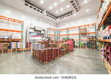 HUMBLE, TX, US - JAN 12, 2017:Fresh produce refrigerated room in a Costco store. Costco Wholesale Corporation is largest membership-only warehouse club in United States, known for its low-price offers