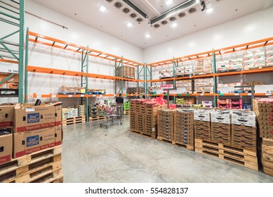 HUMBLE, TX, US - JAN 12, 2017:Fresh produce refrigerated room in Costco store. This largest wholesale membership-only warehouse club in United States known for its low-price offers. Customer shopping.