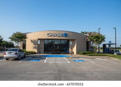 HUMBLE, TX, US-JUNE 10, 2017: Facade of JPMorgan Chase Bank and drive-thru ATM banking. A national bank that constitutes the consumer and commercial banking subsidiary of the US multinational banking.