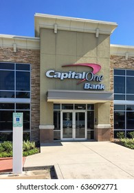HUMBLE, TX, US-MAY 6, 2017: Facade of Capital One Financial Corporation, a bank holding company specializing in credit cards, home loans, auto loans, banking and savings products from McLean, Virginia