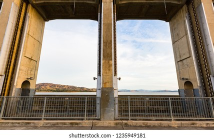Hume Dam and catchment, viewed through two of the 7.92m high vertical lift sluice gates.  Albury, New South Wales.