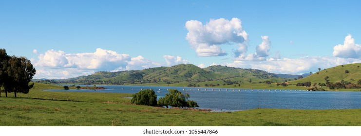 Hume Weir Albury Wodonga - Panoramic view of Sandy Creek Inlet at high water.  Vic Australia.