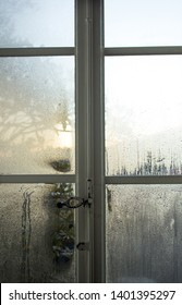 humid window at the february morning in Toscany