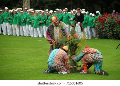 HUMMELO (THE NETHERLANDS), SEPTEMBER 10, 2014: Traditional back corner harvest festival in Hummelo with 'bielemannen' and shooters (fair, folk party)