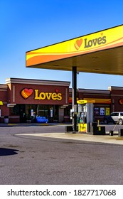 Hummelstown, PA, USA - February 23, 2020:  Love's Travel Stops & Country Stores is a North American family-owned chain of more than 450 truck stop and convenience stores.