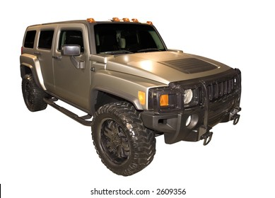 The Hummer H3 car isolated on a white background.