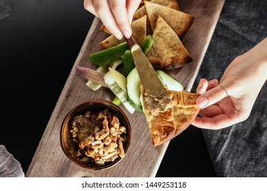 Hummus Dip With Peta Triangles and Cucumbers