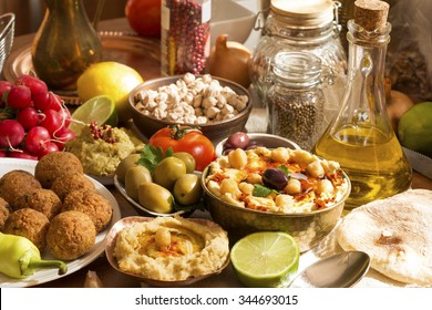 Hummus and falafel meal with ingredients