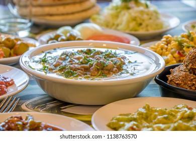 hummus and falafel , traditional food