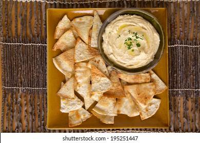 Hummus and homemade pita chips