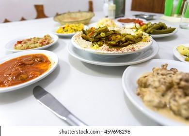 hummus salad with mushrooms. Popular salad in Israel