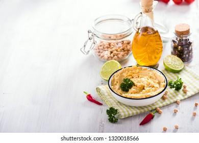 Hummus, vegan snack, vegetarian eating, copy space background