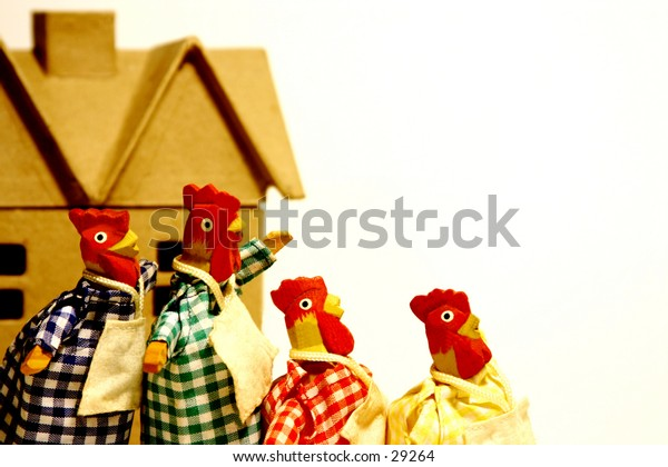 Humor - Chickens Dressed in Plaid Dresses with Aprons