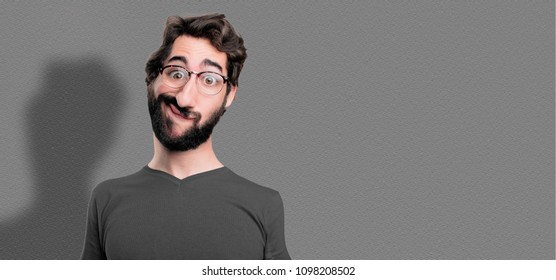 humorous and cool bearded man cartoon or caricature. expressive loony or mad concept