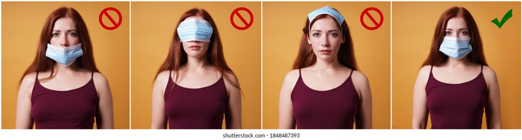 humorous instruction collage on how to wear a protective face mask - young woman showing right and wrong way - corona coronavirus covid concept
