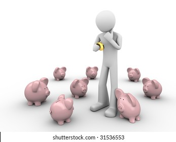 humorous making hard choice where to put savings holds coin in hands in the crowd of piggy-banks