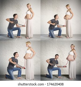 Humorous pregnancy stages collage of young caucasian woman and her husband, holding a pump in hands and creating impact that the abdomen is inflated.
