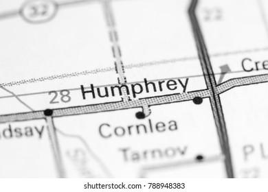 Humphrey. Nebraska. USA on a map.