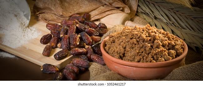 Hunaini, Saudi Arabian Traditional Sweets Made of Dates and Saj Bread Still life with Ingredients