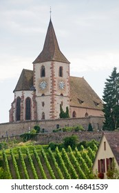 Hunawihr (Bas-Rhin, Alsace, France) - Church, house and vineyard at summer