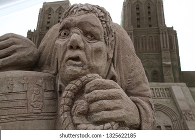 The Hunchback of Notre Dame made out of sand