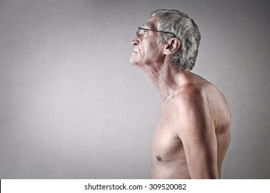 Hunchbacked elderly man
