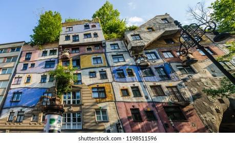 Hundertwasser Haus in the city of Vienna, Austria