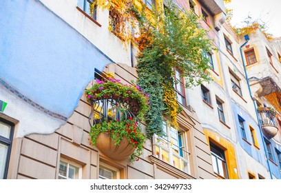 Hundertwasser house, facade fragment with balconies, Vienna, Austria. One of the most popular city landmark