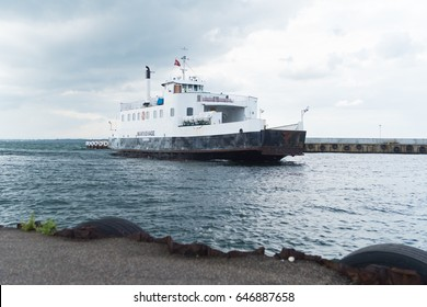 HUNDESTED, DENMARK - AUGUST 8, 2016: Arrival of the ferry in Hundested, a small town in the northern of Zealand