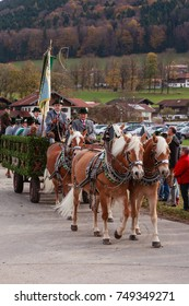 Hundham, Bavaria - November 4, 2017: Every year on the 1st Saturday in November the Idyllic Horse procession, named Leonhardi in the Bavarian Hundham takes place in memory of Patron St. Leonhard.