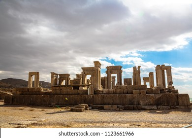 The Hundred colums hall in (Apadana of Xerxes) in the ancient city of Persepolis, Iran. UNESCO World heritage site.On a cloudy day.(public place to visit)
