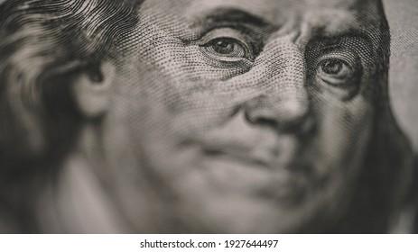 Hundred Dolar Banknotes Close Up View