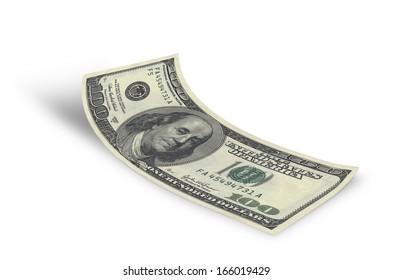 hundred dollar banknote on white background
