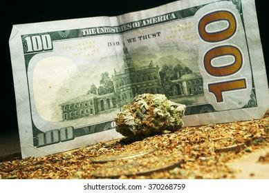 hundred dollar bill and marijuana, marijuana business