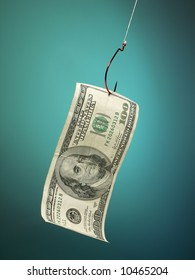a hundred dollar bill on a large fishhook symbolic of a financial lure
