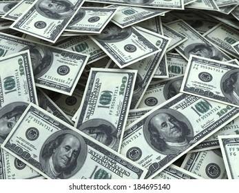 hundred dollar bill stacks (depth of field)