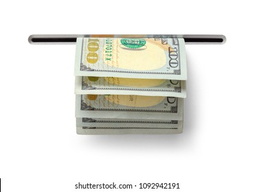 Hundred Dollar Bills Comming out a ATM Slot Isolated on White Background.