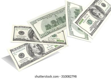 Hundred dollar bills, flying randomly from the bottom up