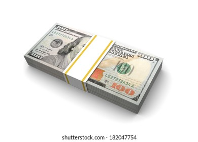 Hundred dollar bills illustration isolated on white background