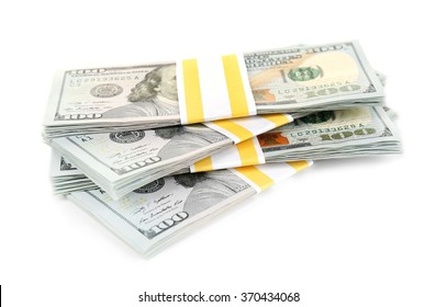 Hundred dollar bills, isolated on white