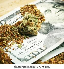 Hundred Dollar Bills and Marijuana Buds, Drug Money