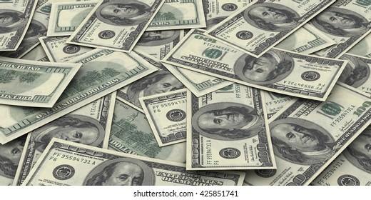 Hundred dollar bills money pile. Sharp high resolution 3d render.
