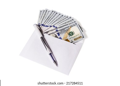 Hundred dollar bills are in an open envelope, top pen isolated on white background