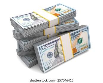 hundred dollar bills in packs over white background
