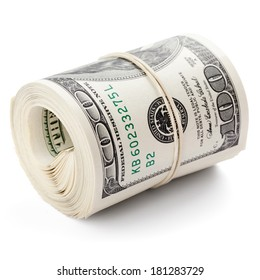 Hundred dollar bills rolled up with rubberband. Clipping Path