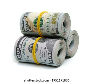 Hundred dollar bills rolled up with rubberband isolated on white background
