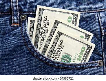 Hundred dollar notes in jeans pocket